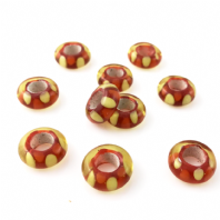 2 LAMPWORK 14X6MM GLASS BEADS 5mm HOLE  RED
